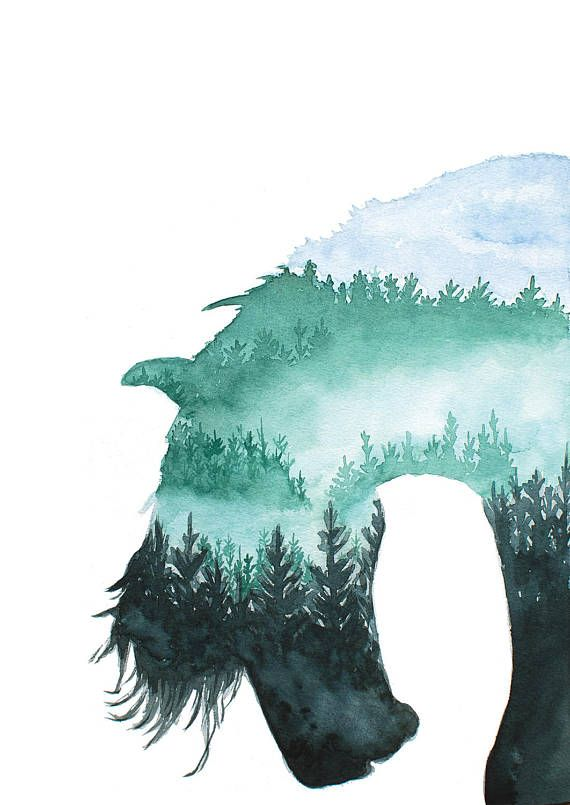 Horse Forest Painting Animal Silhouette Modern Art Home