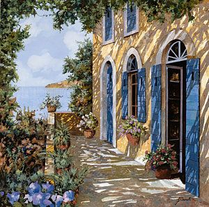 Doors Painting - Le Porte Blu by Guido Borelli