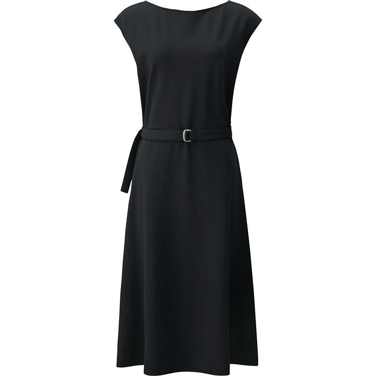 This trendy full-length dress showcases the elegant texture of ponte material, making it an excellent addition to chic styles. It features many simple, yet feminine details including a breezy sleeveless design and a boat neck that neatly frames the face and neckline. A belt in the same fabric creates a lovely silhouette. Great for accessorizing with a variety of items, such as a light jacket.
