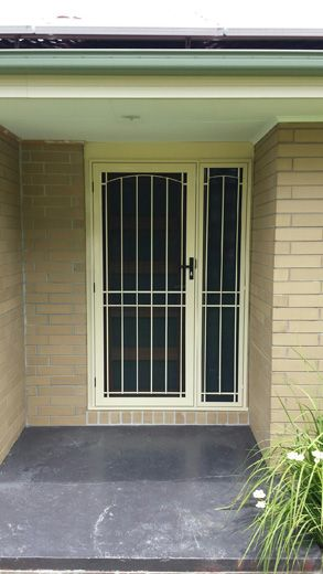 Aluminum frame and steel grille security door with matching side panel, and upgrade to stainless steel mesh.