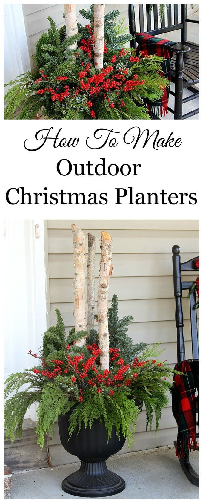 Learn how to make these beautiful outdoor Christmas planters made with Birch branches and Winterberry. A quick and easy accent for your holiday porch decor. #ChristmasDecor #porch #porchdecor #containergardening   #winterdecor #gardeningideas