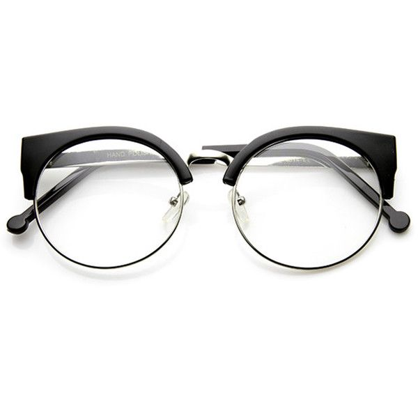 Indie Hipster Round Cat Eye Clear Lens Half Frame Glasses 9351 | New ...