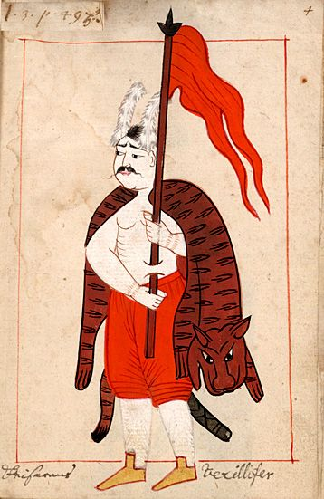 """Standard bearer  """"Keisarens Vexillifer""""   The Turkish title is Bayrakdar.  The 'Rålamb Costume Book' is a small volume containing 121 miniatures in Indian ink with gouache and some gilding, displaying Turkish officials, occupations and folk types. They were acquired in Constantinople in 1657-58 by Claes Rålamb who led a Swedish embassy to the Sublime Porte, and arrived in the Swedish Royal Library / Manuscript Department in 1886."""