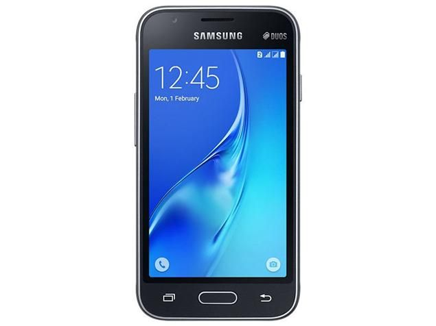 Galaxy J1 mini. The phone comes with a 4.00-inch touchscreen display with a resolution of 480 pixels by 800 pixels.  The Samsung Galaxy J1 mini is powered by 1.2GHz quad-core processor and it comes with 768MB of RAM. The phone packs 8GB of internal storage that can be expanded up to 128GB via a microSD card. As far as the cameras are concerned, the Samsung Galaxy J1 mini packs a 5-megapixel primary camera on the rear and a 0.3-megapixel front shooter for selfies.  The Samsung Galaxy J1 mini…