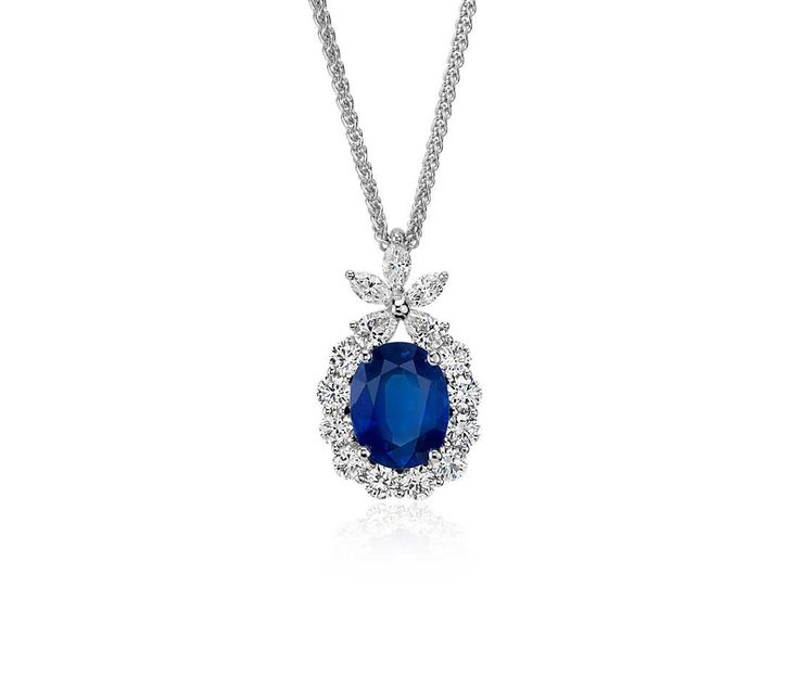 Stunning! Oval Sapphire and Diamond Pendant in 18k White Gold | #Jewelry #Fashion #Necklace