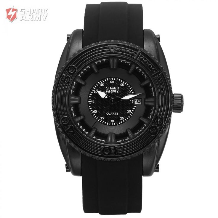 SHARK ARMY Water Resistant Date Display Black Quartz Movement For Man Inside Military Design High Quality Watch /SAW205