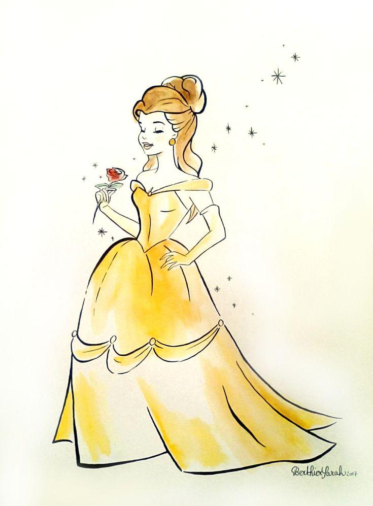 Dessin peinture princesse Belle du Disney la Belle et La Bête, aquarelle effet croquis : Peintures par figurinesheros