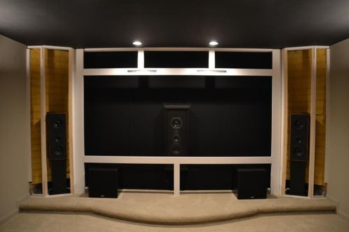 Minimalist approach to screen wall page 9 screen wall l and r would have doors for me i - Home theater screen wall design ...