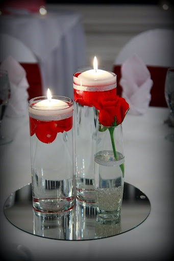 Candle centerpieces floating and