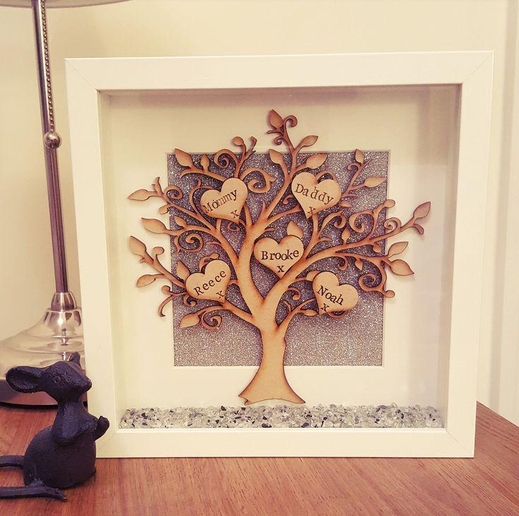 Beautiful family tree frame #boxframe #family #sparkle #love @willowboxframes