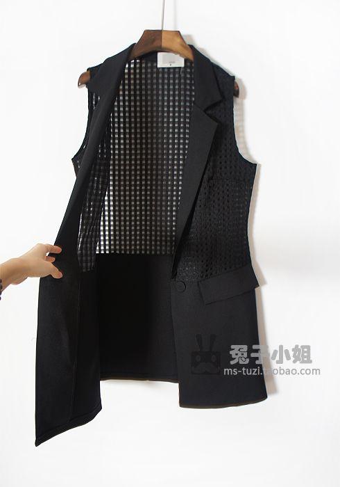 Корея весной и летом органза коробка шить жилет жилет костюм жилет и длинные участки блудниц - Taobao