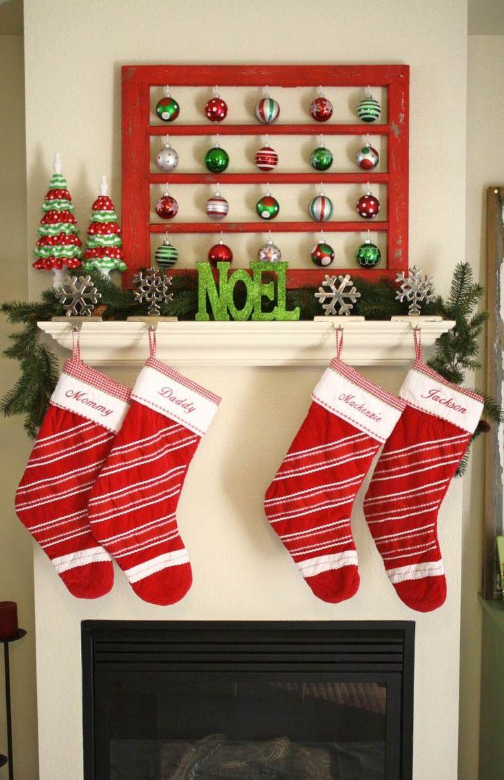 Christmas stocking decoration ideas - 32 Dazzling Christmas Mantel Decoration Ideas For Your Home