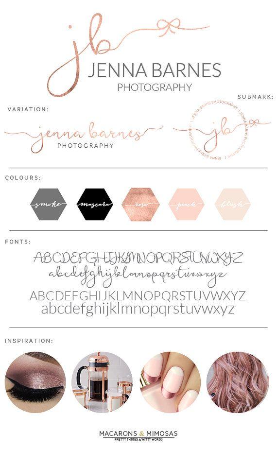 Rose Gold Bow Watercolor Logo / Photography Branding Kit / Premade Blush…