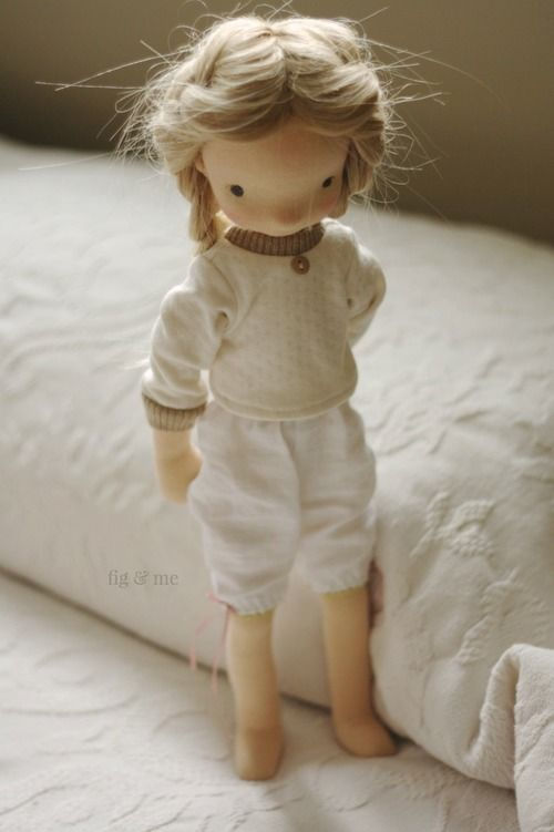 Nova, a Mannikin style doll, a natural wool sculpture doll by Fig and Me.