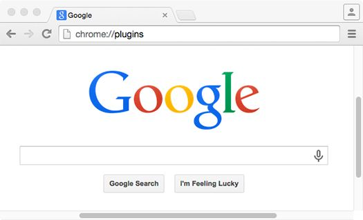 Tapez chrome:plugins dans la barre d'adresses
