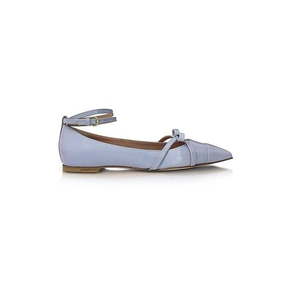 RED Valentino Shoes Ortensia Blue Patent Leather Ballerinas (805 BAM) ❤ liked on Polyvore featuring shoes, flats, blue, blue ballerina flats, patent leather shoes, blue shoes, blue ballet shoes and patent shoes