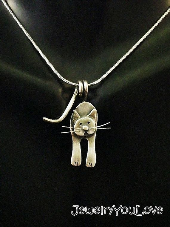 Sterling Silver Cat Necklace Cosmos от JYLbyPeekaliu на Etsy