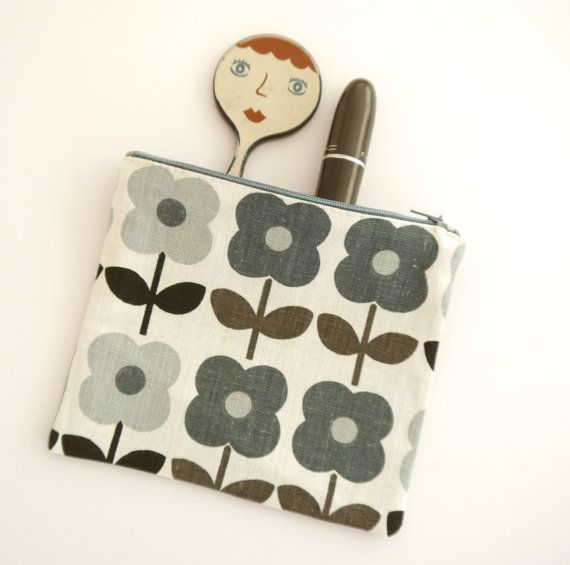Handmade 70s Fabric Purse / Make up bag by Jane Foster Flower Power
