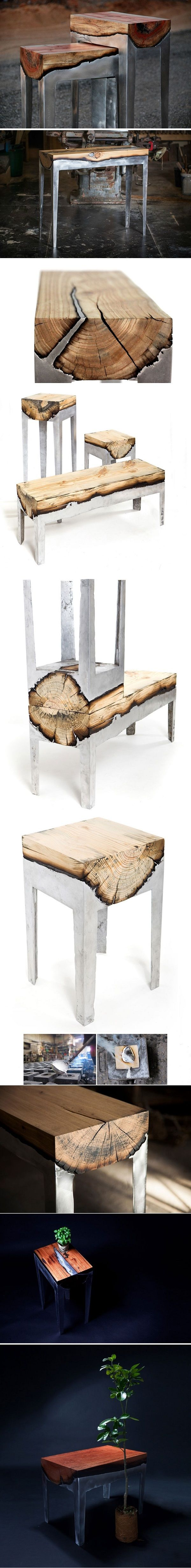 Wood And Metal Unite In Striking Furniture By Hilla Shamia http://emfurn.com/collections/dining-table http://emfurn.com/collections/dining-tables-dining-chairs