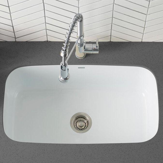 Kraus Pintura Undermount 31 5 In X 18 38 In White Single Bowl Kitchen Sink Lowes Com Sink Single Bowl Kitchen Sink Stainless Steel Undermount