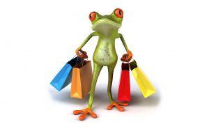 dítě, žába, nakupování, tašky, legrační