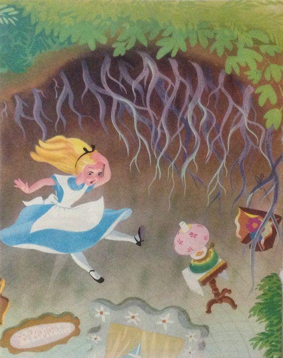 Alice in wonderland print Vintage 1960s book by accoladefive