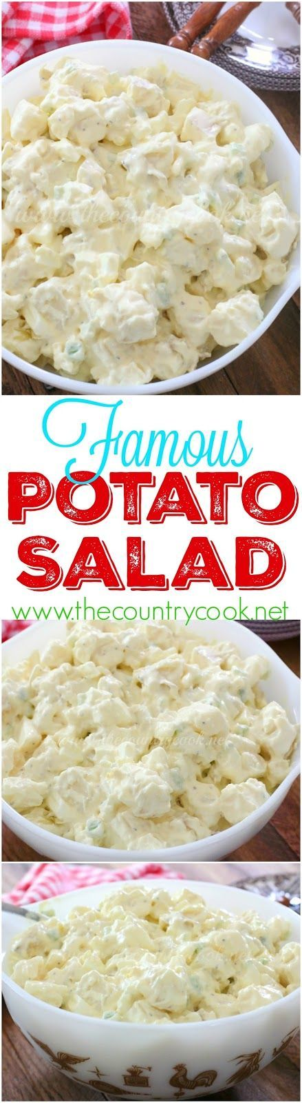 Famous Potato Salad recipe from The Country Cook. This potato salad made me famous with my family and friends. Everyone always wants the recipe and it's the first thing to go at any cookout! So good. Creamy deliciousness!