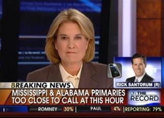 Greta Van Susteren Confronts Santorum For Saying Fox News 'Shills' For Mitt Romney