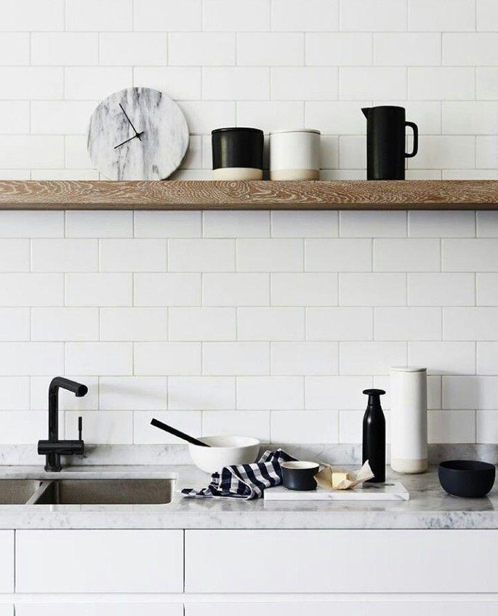 downstairs kitchenette Black tapware