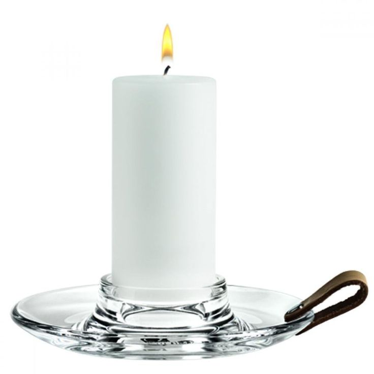 Holmegaard Design with Light Block Candle Holder, Glass, Leather, Transparent, Ø 17.5 cm, 4343515
