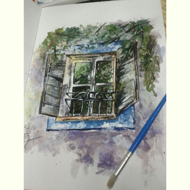 Window watercolor painting I re-draw as practise from original picture by Julia Barminova  Check out my Instagram @mpupuutt