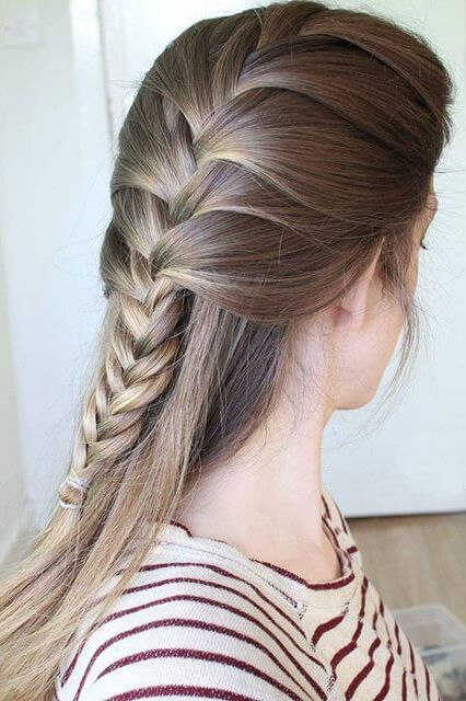 Girl with half-up fishtail braid