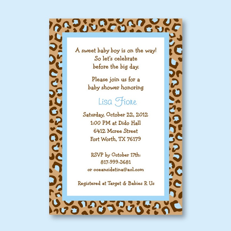 10 best Cheetah Print Baby Shower Invitations images on Pinterest ...