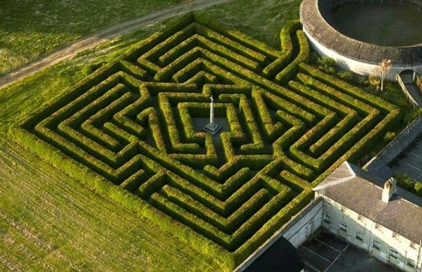 """The 2000m² Beech Hedge Maze in the garden is a puzzle that needs a map and still has visitors wandering and lost. The 'goal' at the heart of Russborough Maze is a statue of Cupid enclosed in a diamond hedge"" The Russboroughs made money through the diamond trade - how fitting then."
