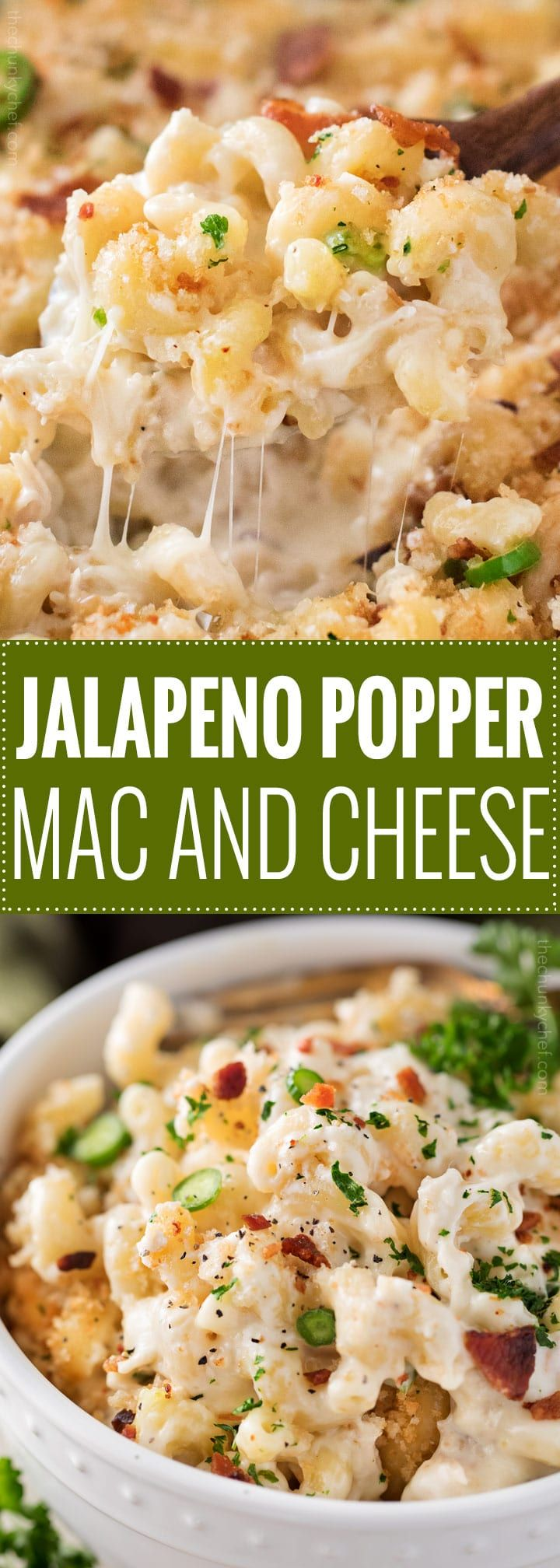 This Jalapeño Popper Mac and Cheese has all the amazing flavors of the wildly popular appetizer, made into an ultra creamy and comforting baked Mac and cheese dish! | #macandcheese #jalapenopopper #comfortfood #macaroniandcheese #recipe