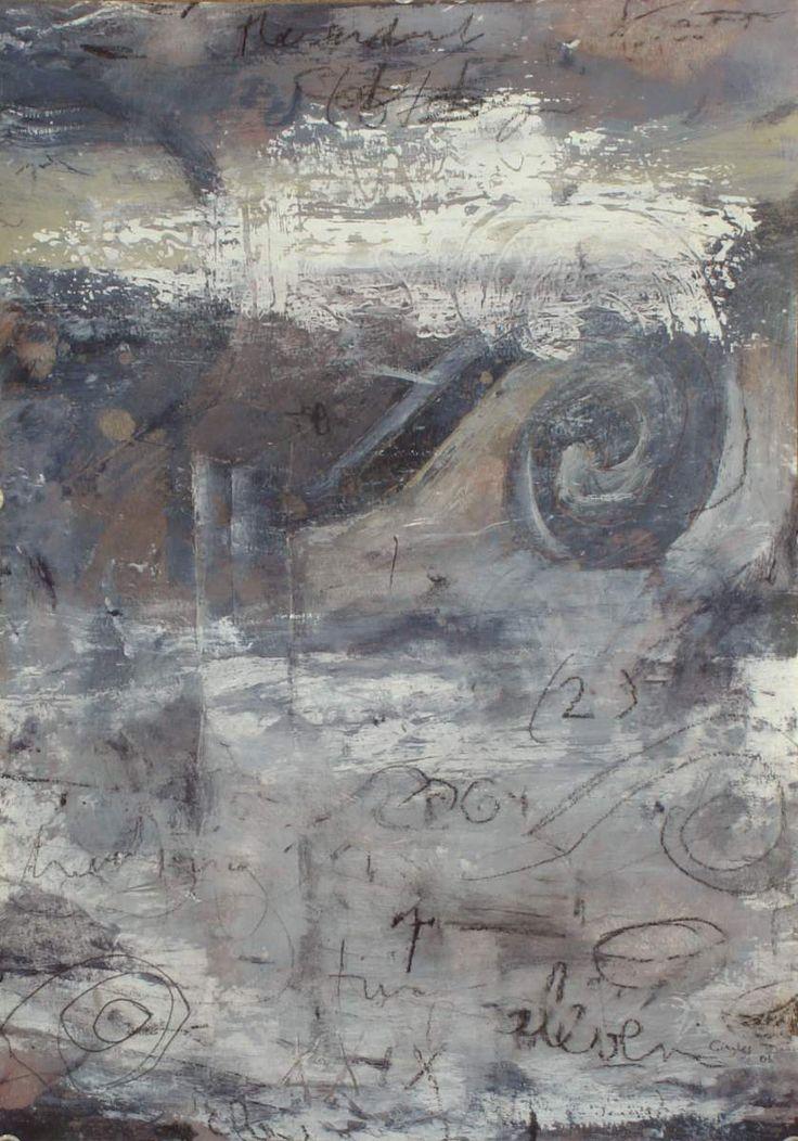 Bill Gingles 2005 Entering Gray acrylic wax crayon pencil on canvas