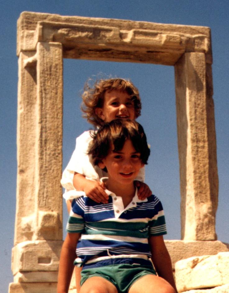 The Naxos Arch circa 1984 with Zoe & Adam
