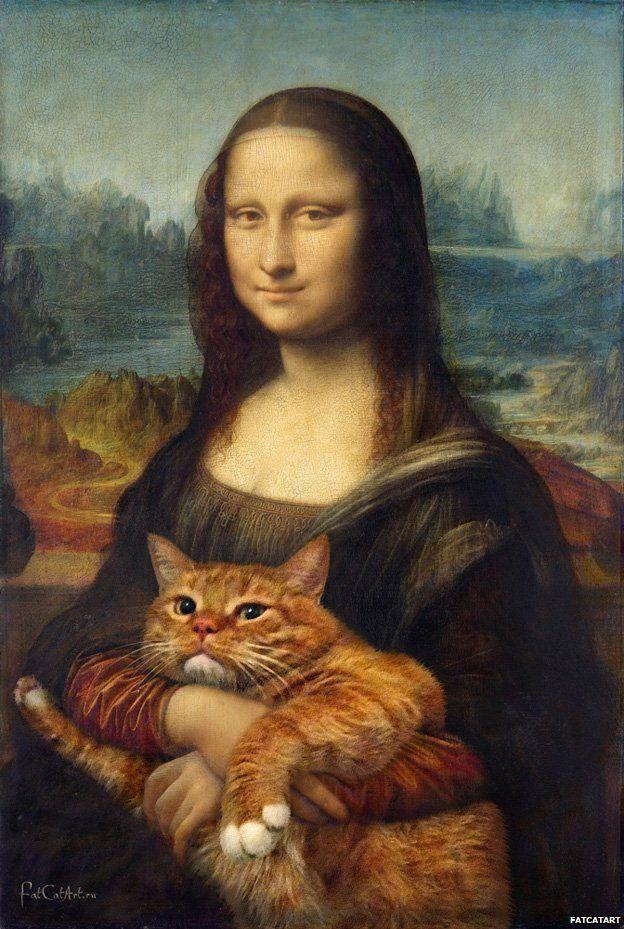 Daft. Artist 'makes paintings better' with her cat Mona Lisa. True version. based on Leonardo da Vinci