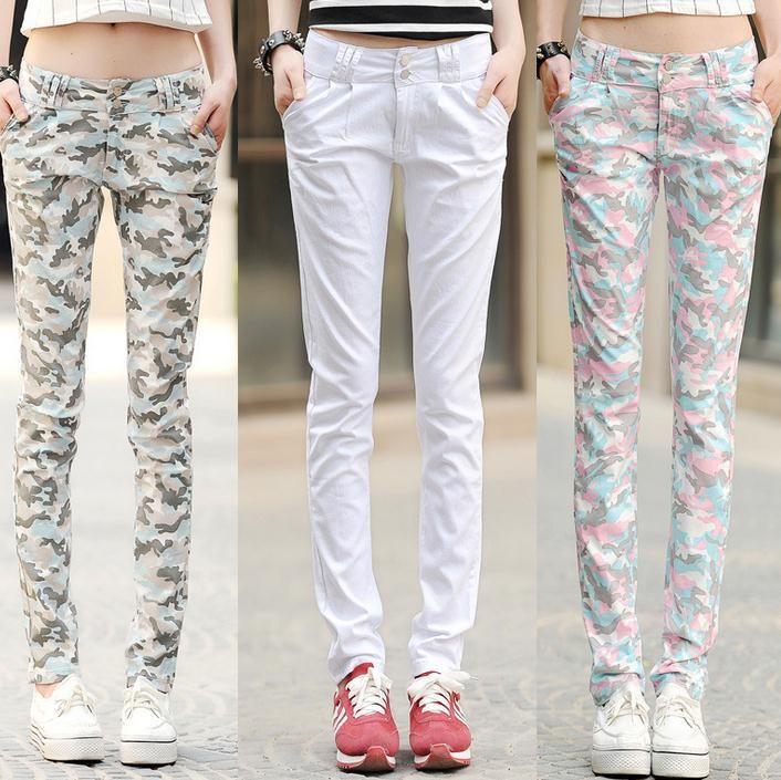 Новый тонкий карандаш штаны камуфляжные штаны женские прилив конфеты цвет Большой размер тонкие шаровары