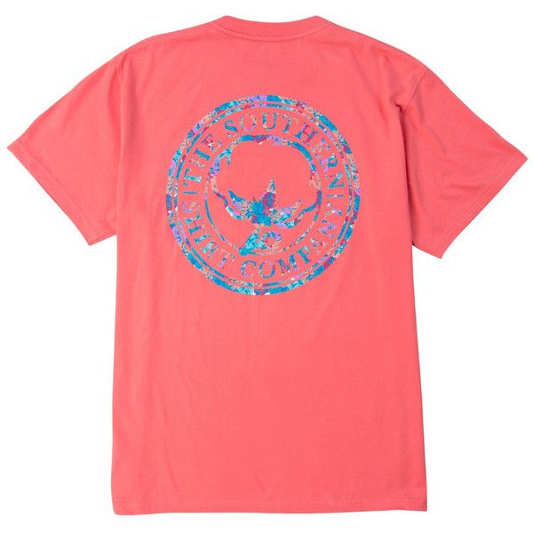 Floral Logo Tee Shirt in Sugar Coral by The Southern Shirt Co. ($30) ❤ liked on Polyvore featuring tops, t-shirts, logo tee, coral shirt, flower print t shirt, floral t shirt and red top