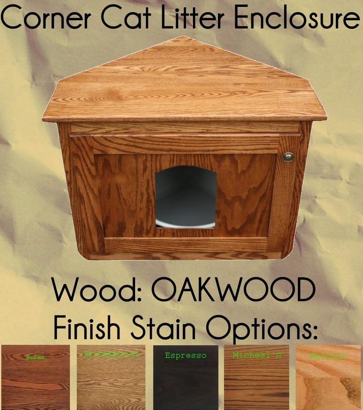 Corner Cat Litter Enclosure Oak Wood by Pinnacle    - Price: $229.00 - #catlitterboxfurniture #cat #litter #box #furniture - http://www.catbedandtoy.com/cat-litter-box-furniture