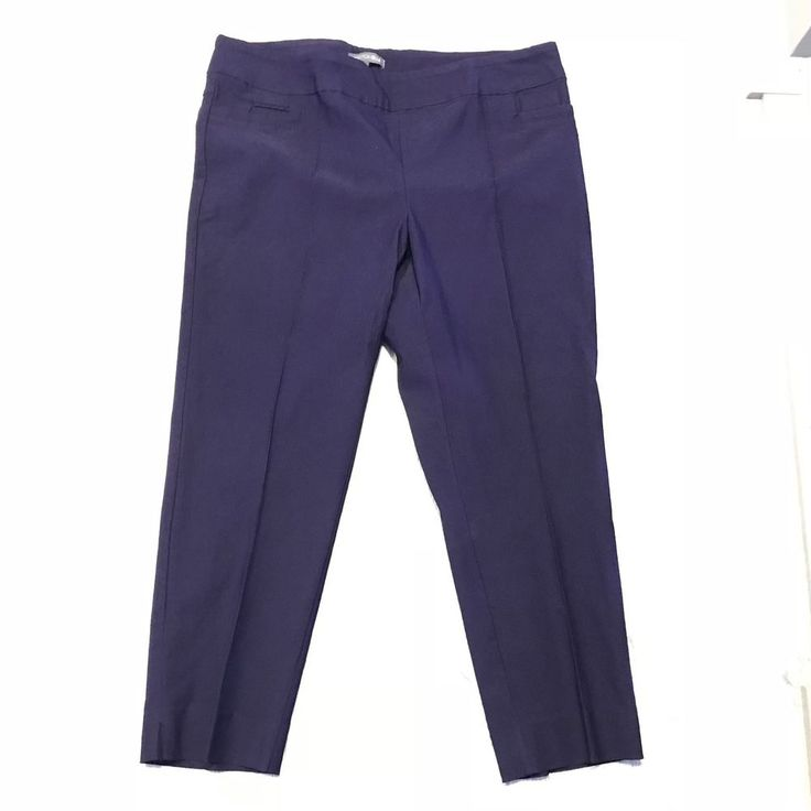 Purple Pants Plum Addition Elle Womens Plus sz 22 Elastic Waist Stretchy pull on #AdditionElle #CasualPants