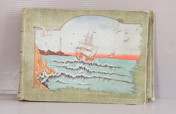 Antique French Postcards Album. Light green fabric with embossed Sea scene decor.