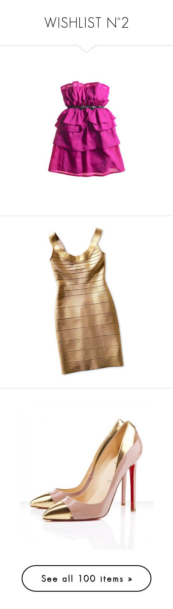 """WISHLIST N°2"" by vict0ria ❤ liked on Polyvore featuring WishList, DreamCloset, dresses, vestidos, vestiti, short dress, women, scoop-neck dresses, short gold dresses and gold bandage dress"
