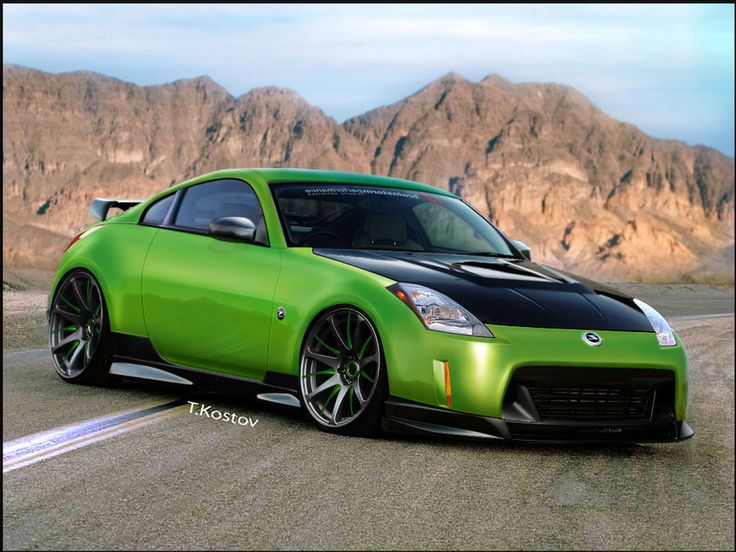 Nissan 350z Green And Black By Anqui 350 Z Nissan