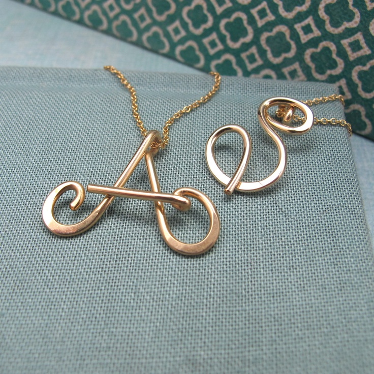 Small Calligraphy Initial Necklace in 14k Gold FIlled. $65.00, via Etsy.