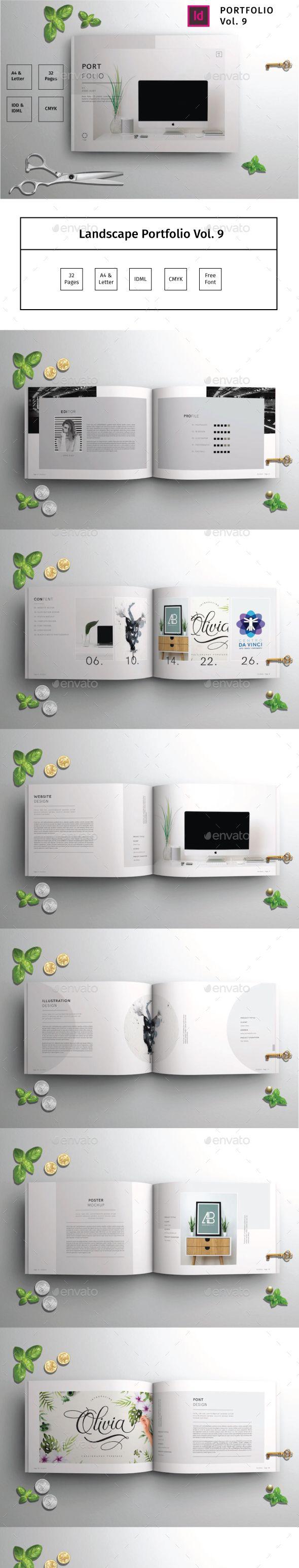 Landscape Portfolio Brochure Template InDesign INDD - 32 Pages A4 and US Letter ...