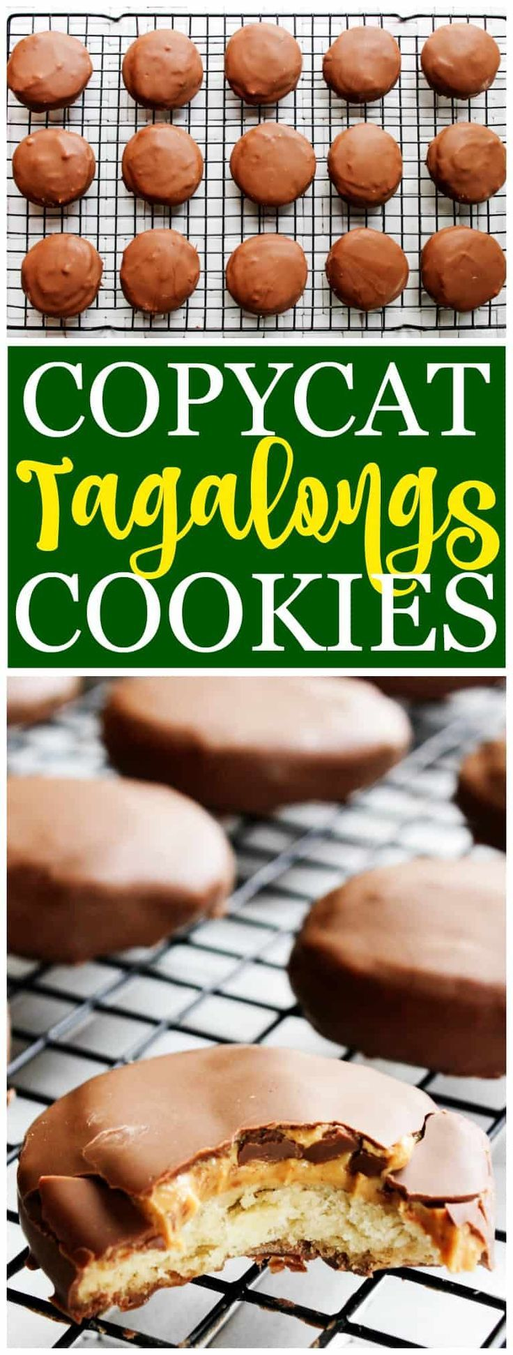 Copycat Girl Scout Tagalong Cookies - Made with a butter cookie base, peanut butter center and covered in milk chocolate,