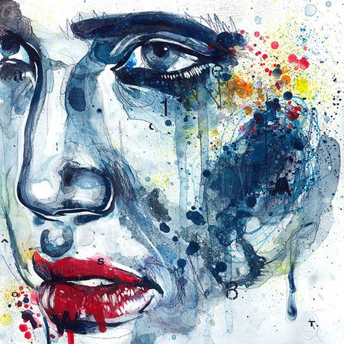 In this painting by Ben Tour had been built up by brushstrokes of thin, watery paint and scribble to to create harsh facial features and give the painting a deep almost troubled tone. The painting also contains splashes of the other primary colours which help highlight the focal points in the painting which are the lips and the right eye, the most powerful parts of the image.