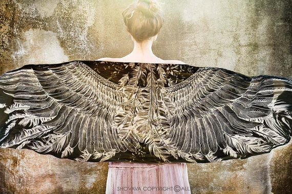 Black Wings scarf and feathers Hand painted printed von Shovava